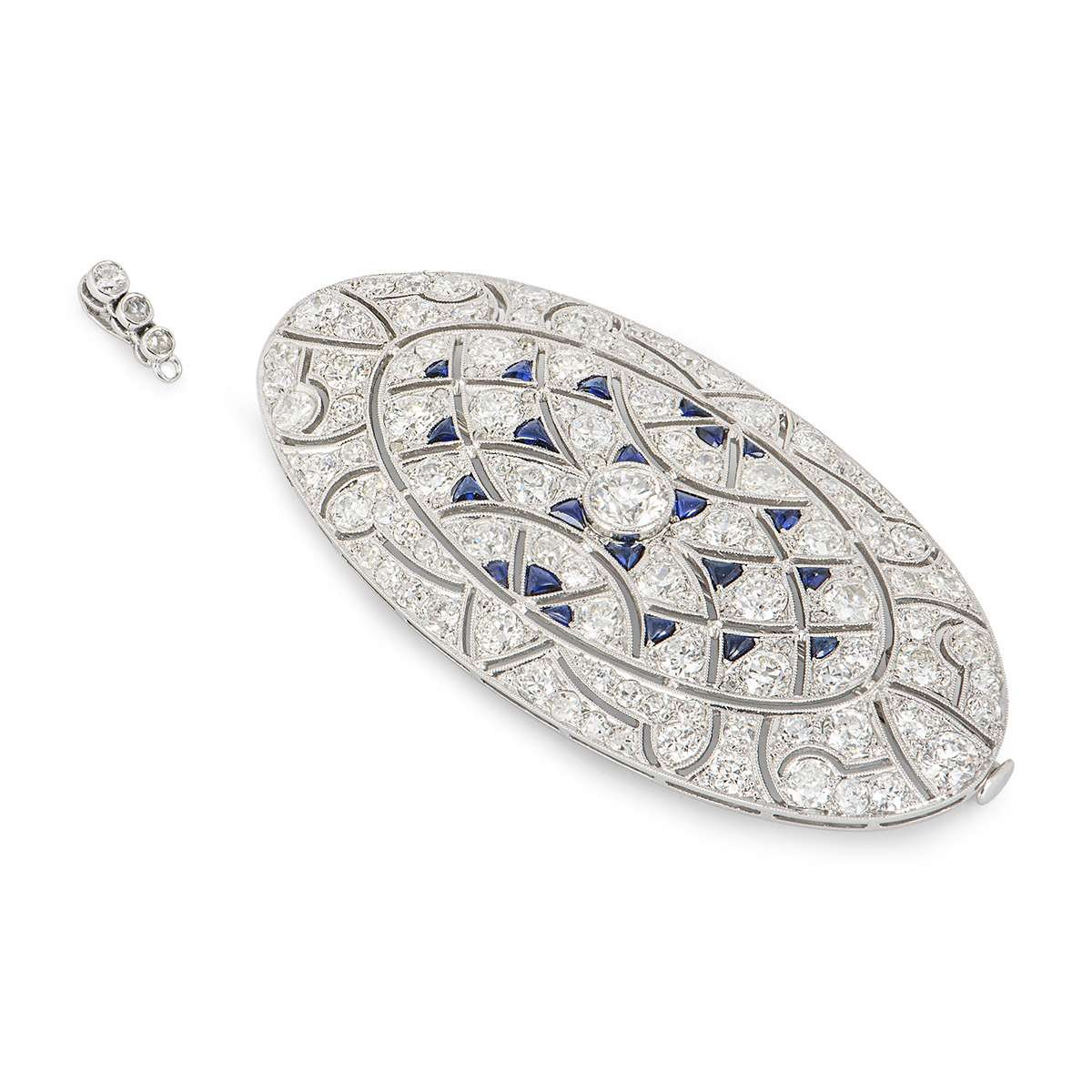 A Diamond & Sapphire Belle Époque Pendant Brooch in Platinum C.1910